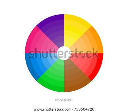 Printing Color Wheel 8 Sectors Yellow Stock Vector Royalty Free