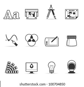Printing & graphic design icon set in single color. Transparent shadows placed on layer beneath.
