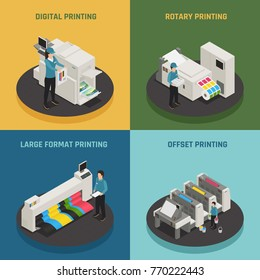 Printing house 4 isometric icons concept with digital rotary large format and offset production types vector illustration