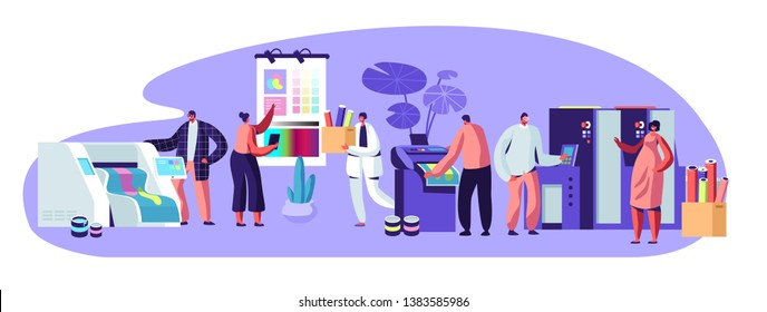 Printing House Advertising Agency, Polygraphy Industry Composition with Human Characters. Customers, Designers, Workers Producing Colorful Press Consumable Ad Material Cartoon Flat Vector Illustration
