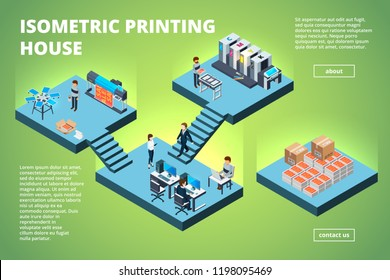 Printing house building. Industrial print production office interior inkjet offset publishing machines copier printer vector isometric. Illustration of processing multifunction printout printer