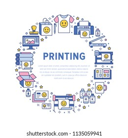 Printing house circle poster with flat line icons. Print shop equipment - printer, scanner, offset machine, plotter, brochure, rubber stamp. Polygraphy office signs, typography.