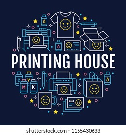 Printing house circle poster with flat line icons. Print shop equipment - printer, scanner, offset machine, plotter, brochure, cmyk, rubber stamp. Polygraphy office signs, typography.