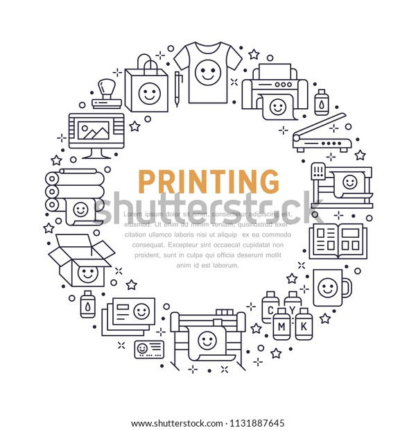 Printing House Circle Poster Flat Line Stock Vector (Royalty