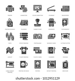 Printing house flat glyph icons. Print shop equipment - printer, scanner, offset machine, plotter, brochure, rubber stamp. Silhouette signs for polygraphy office, typography.