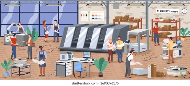 Printing house polygraphy industry composition with human characters, plant and machinery and printer consumable images vector. Designers and workers producing colorful press consumable ad material