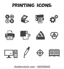 printing icons, mono vector symbols