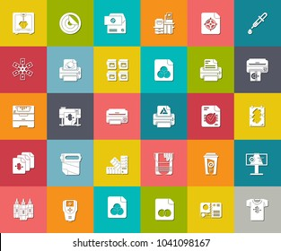 printing Icons, paper printer illustration, graphic design elements, computer icons