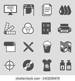 Printing Icons. Sticker Design. Vector Illustration.
