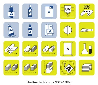 Printing industry icons set