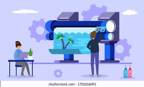 Printing industry, tiny character work in creative business office, flat vector illustration. Male, female standing printing machine and ink, gear background. Design for typographic plotter.