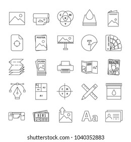 Printing linear icons set. Polygraphy and typography. Posters, flyers, brochures, booklets templates. Thin line contour symbols. Isolated vector outline illustrations. Editable stroke
