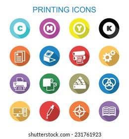 printing long shadow icons, flat vector symbols