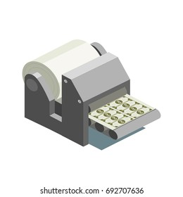 Printing machine prints money isometric style colorful vector illustration