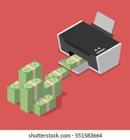 Printing money. Quantitative easing concept