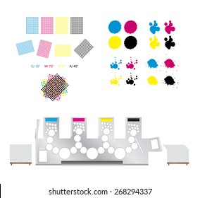 Printing and polygraphy vector set - printing rosettes, printing machine and cmyk blots