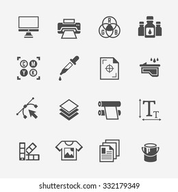 Printing service or printing house set of isolated vector black icons