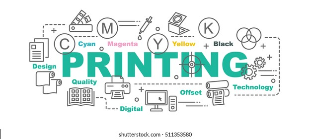 printing vector banner design concept, flat style with thin line art printing icons on white background
