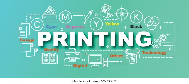 printing vector trendy banner design concept, modern style with thin line art printing icons on gradient colors background