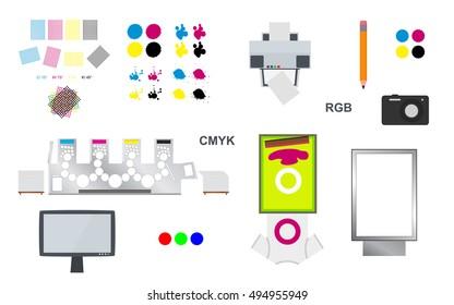 printing and web vector set - printing rosettes, printing machine, lcd monitor, camera, citylight lightbox, pencil, desktop printer, screen printing on T-shirt and cmyk blots