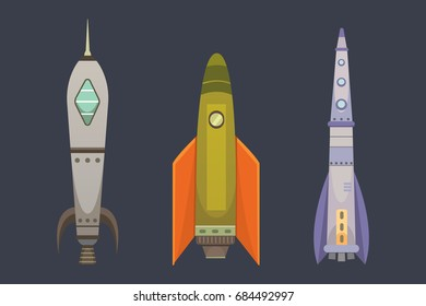 PrintRocket ship in cartoon style. New Businesses Innovation Development Flat Design Icons Template. Space ships illustrations set.