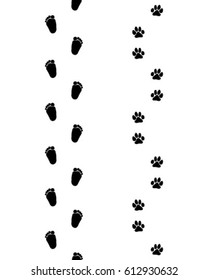 Prints of  baby bare feet and dog paws,seamless pattern