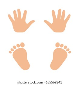 Prints of children's hands and feet