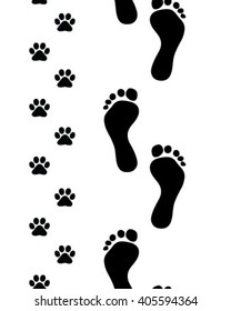 Prints of human feet and cat paws,seamless vector wallpaper