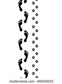 Prints of human feet and dog paws,seamless vector wallpaper