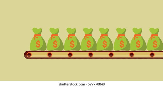 prints many sacks or bag of money on the line simple Isolated vector illustration in the Factory for business or finance. big boss or manager make a lot of money on flat design