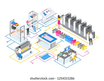 Printshop or printing service center with men and women working with plotters, offset and inkjet printers and other electronic equipment. Creative trendy colorful isometric vector illustration.