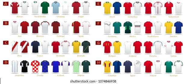 PrintSoccer kit or football jersey template design for national football team. Home and Away soccer uniform in front view mock up. Football t-shirt for world soccer tournament. Vector Illustration.