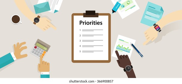 priorities priority concept vector illustration