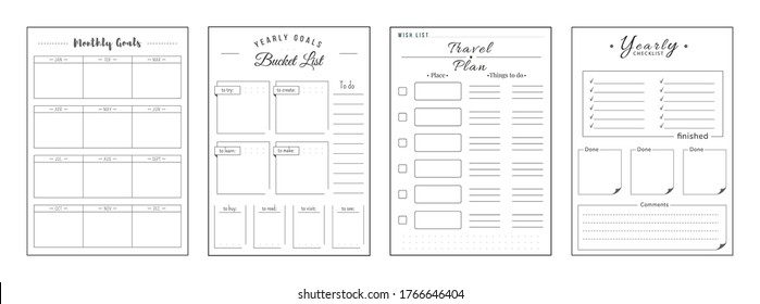 Priorities and wishes minimalist planner page set. Monthly priorities. Habit track weekly. Travel and journey plan. Bucket list personal organizer printable sheet layout. Vertical insert for diary