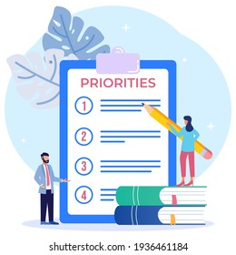 Priority concept vector illustration. An important agenda for doing Planning and work management to increase your efficiency. Checklist with priority objectives and urgency selection process
