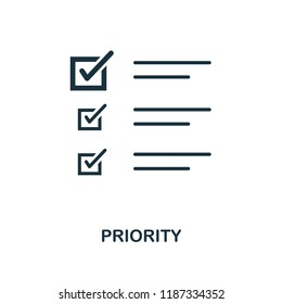 Priority icon. Monochrome style design from machine learning collection. UX and UI. Pixel perfect priority icon. For web design, apps, software, printing usage.