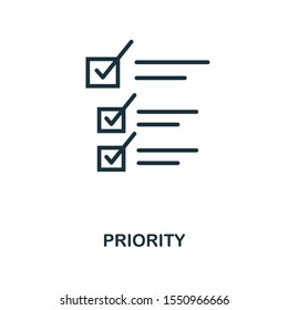 Priority icon outline style. Thin line creative Priority icon for logo, graphic design and more.