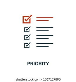 Priority icon in two color design. Red and black style elements from machine learning icons collection.  Creative priority icon. For web design, apps, software, print usage.