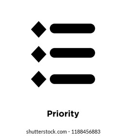 Priority icon vector isolated on white background, logo concept of Priority sign on transparent background, filled black symbol
