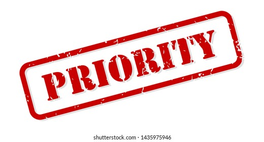 Priority red rubber stamp vector isolated