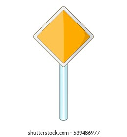 Priority road sign icon. Cartoon illustration of priority road sign vector icon for web