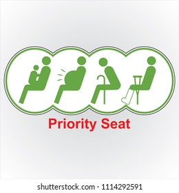 priority seat icon, for train and bus