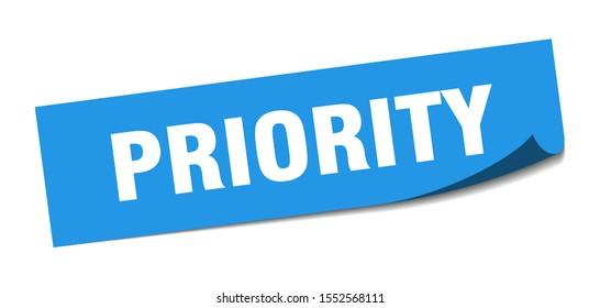 priority sign. priority square blue sticker  isolated on white background