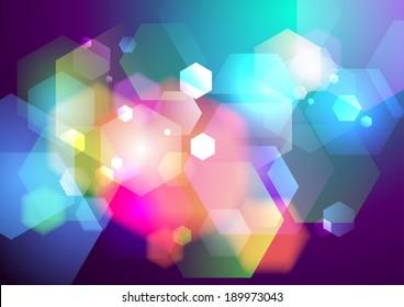 Prism crystals bokeh lights background, vector illustration