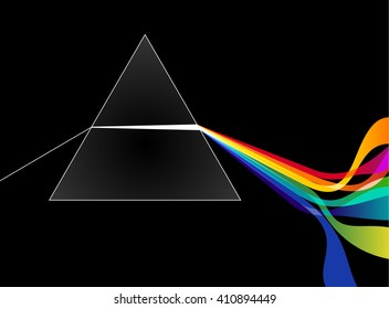 Prism with light rays, eps10 vector