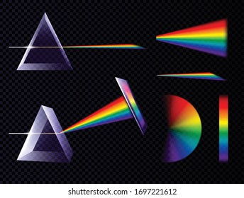 Prism light spectrum rainbow set on transparent background with triangle prisms and palettes of different shape vector illustration