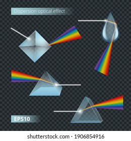 Prism and spectrum rainbow collection set. Dispersion of visible light going through glass prism. Optical effect realistic. 3d vector image.