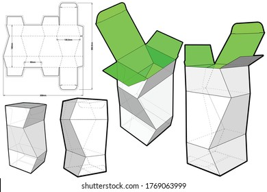 Prismatic Box (Internal measurement 8x 8+19cm) and Die-cut Pattern. The .eps file is full scale and fully functional. Prepared for real cardboard production.