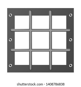 Prison bar metal realistic detailed isolated on transparent background. Design jail. Iron cells. Vector detailed illustration. Detention centre. Isolated way, restriction of freedom concept. Eps 10.