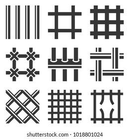 Prison Bars Icons Set on White Background. Vector